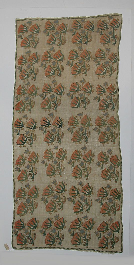 Cover  Date:     18th–19th century Geography:     Turkey, Eregli Culture:     Islamic Medium:     Cotton and silk-thread; embroidered