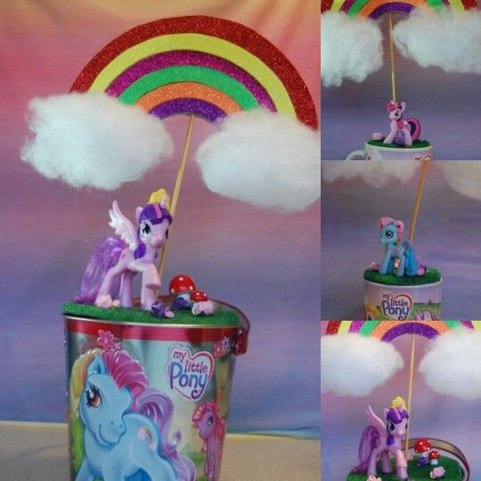 My Little Pony party table decorations made from upcycling cups and tins.