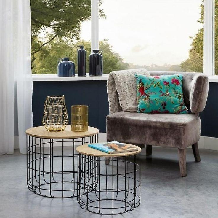 LIFA LIVING® 2er-Set Beistelltische aus schwarzem Metall und MDF-Holz …   – things for the home