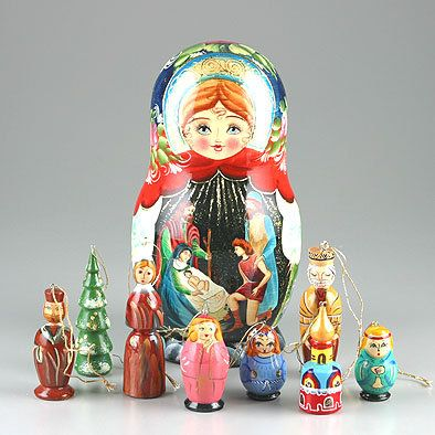 Nativity Russian Doll with Ornaments