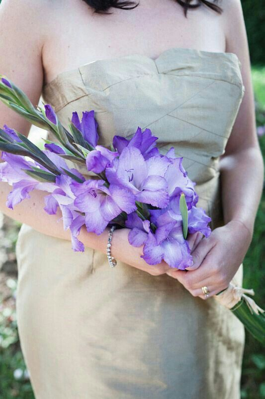 Lovely Arm Sheaf Bouquet Arranged With Purple Gladiolus························
