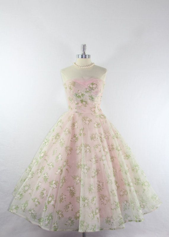 1950s Party Prom Dress  Vintage Strapless Pink Chiffon and Tulle Wedding Frock by VintageFrocksOfFancy,