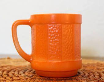 Vintage Orange Federal Glass Coffee Mug / Federal Glass Pebble / Retro Orange Coffee Mug with D Handle / Mid Century Modern Coffee Cup Mug -    Edit Listing  - Etsy