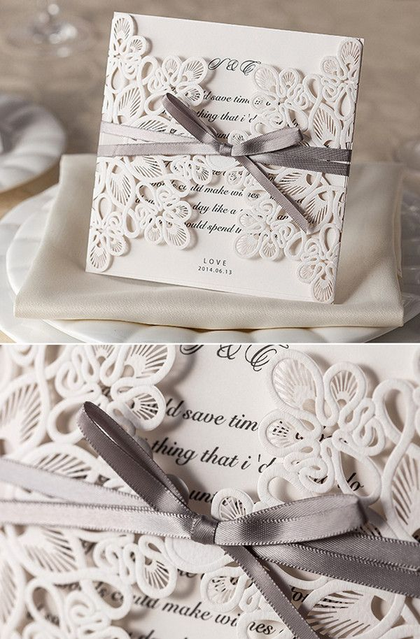vintage laser cut lace pocket wedding invitation cards