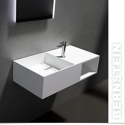 WALL HUNG WASH BASIN PB2037, Stone Resin Sink, With Waste (Taps Not Included