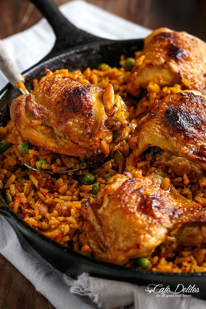 One Pan Spanish Chicken and Rice, or Arroz Con Pollo as we call it...all cooked in one pan...including the Crispy Chicken!