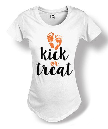 Loving this Black 'Kick or Treat' Maternity Tee - Women on #zulily! #zulilyfinds