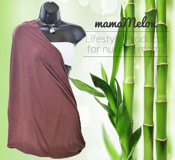 Nursing Cover organic BamBoo brown 3 in 1 Nursing by MamaMelonCA