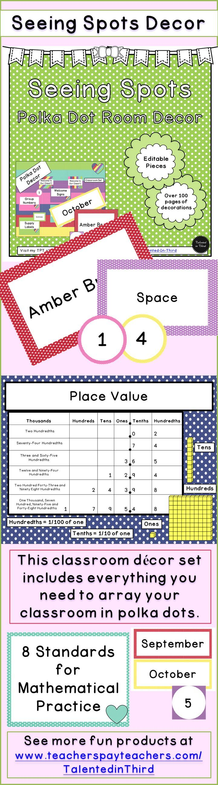 This classroom décor set includes everything you need to array your classroom in polka dots. It provides materials for your library, an outside bulletin board, clock labels, table labels or desk labels, labels for all of your supplies, labels for all of your cupboards, all the materials for a classroom calendar, and materials for several inside bulletin boards.