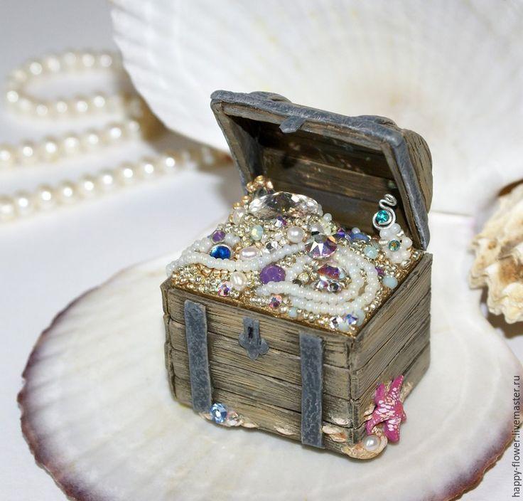 Шкатулка-обманка «Сокровища семи морей» с кристаллами Swarovski и натуральным жемчугом - Ярмарка Мастеров - ручная работа, handmade
