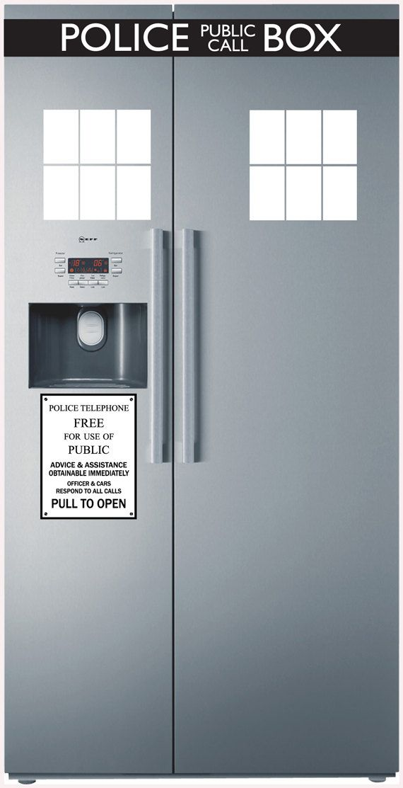 Police Box Fridge decal vinyl decal by Walkingdeadpromotion, $29.99: Vinyls Decals, Fridge Decals, Tardis Fridge, Fashion Style, Appliances Stickers Decs, Police Boxes, Boxes Fridge, Tardis Appliances, Geeky Stuff