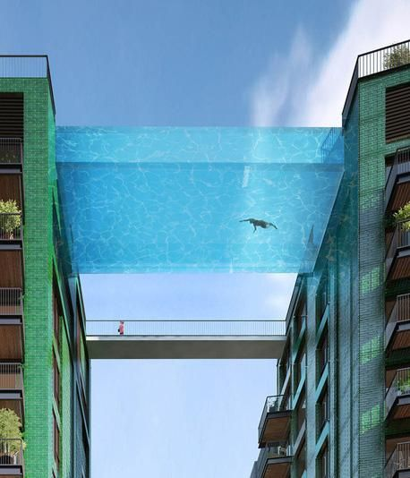 "A new London development on the south bank of the Thames is getting its very own ""sky pool"" – a 10 storey-high glass pool suspended between two apartment blocks  2015"