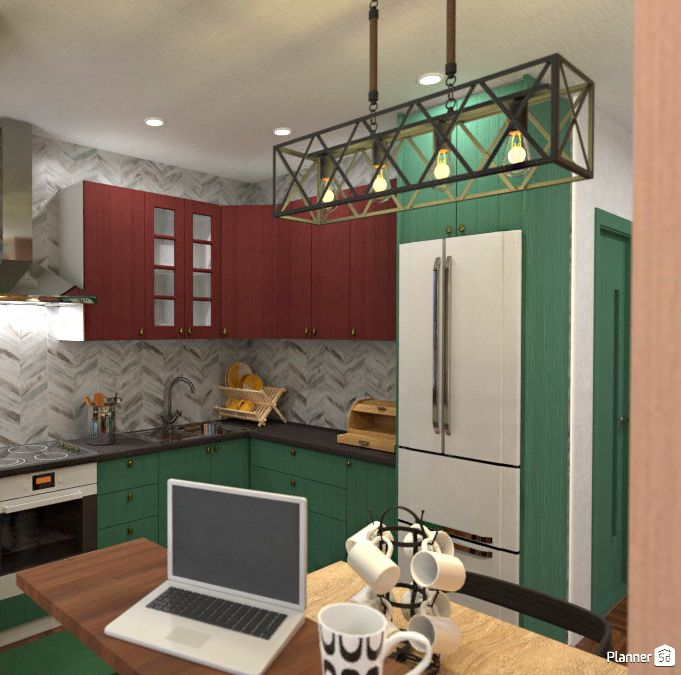 Green Kitchen Interior Ideas Planner 5d