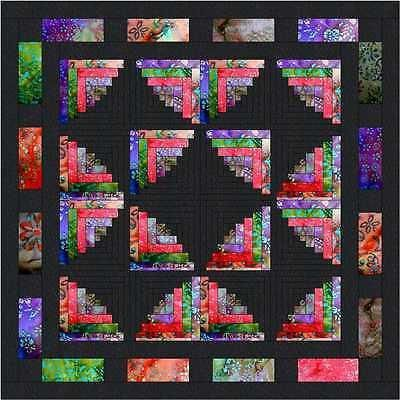 Quilt Kit/Butterfly Wings Log Cabin/Pre-cut Fabrics Ready To Sew/Batiks