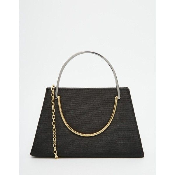Ted Baker Satin Clutch Bag With Handle Detail (1.260 NOK) ❤ liked on Polyvore featuring bags, handbags, clutches, black, satin handbags, ted baker purse, clasp purse, ted baker and satin purse