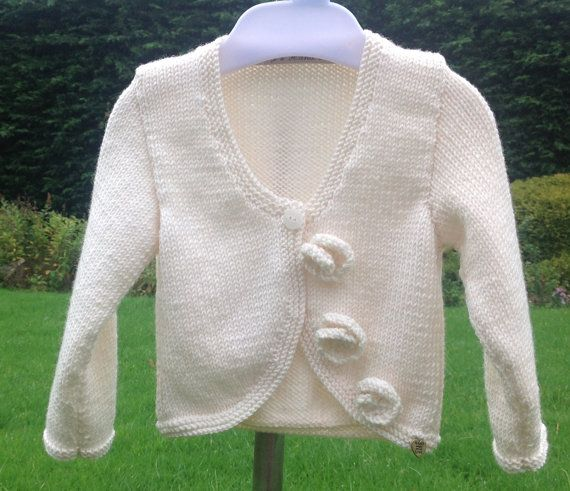 Baby Girl Sweater, Infant Cardigan, Size 1 to 2 Years, Handknitted, Toddler Sweater, Girls Cardigan