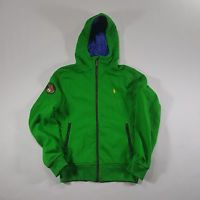Polo Ralph Lauren Full Zip Green Blue SMALL Hoodie COOKIE patch yellow pony