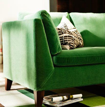 Love this green velvet Ikea couch  STOCKHOLM three seat sofa in Sandbacka green velvet on STOCKHOLM flatwoven rug, by IKEA