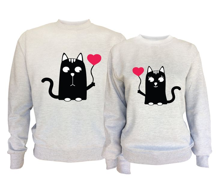 Valentine's day His and Her matching sport grey sweatshirts with cats. 3mM2me8cmj