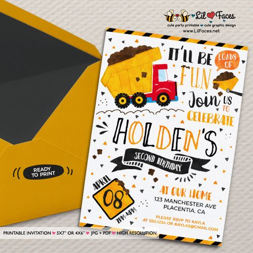 Dump Truck Construction Birthday Party Invitation- Printable DIY Invitation - Personalized Invite cardDIY party printables will save you time and money while making your planning a snap!