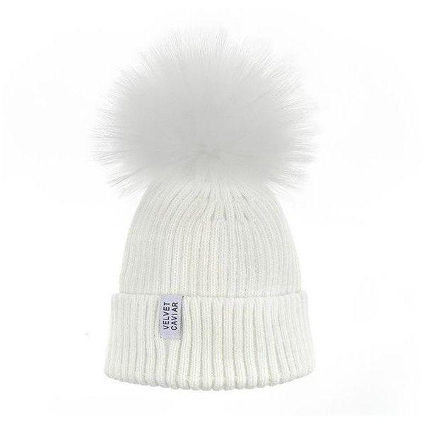 Lux White Beanie White Fur Pom (£32) ❤ liked on Polyvore featuring accessories, hats, pom pom beanie, white beanie hat, white fur hat, pom pom beanie hat and white pom pom hat