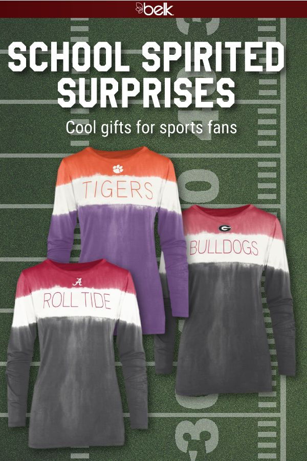 This holiday season, give all the sports fanatics in your life a school-spirited surprise! There are so many they will love – comfy tees dip-dyed in school pride, team tumblers to keep them hydrated from the tailgate to the stands, and even logoed crockpots to make hosting game-day get-togethers a breeze. Get all the gear for you and your sporty crew in stores and online at belk.com.