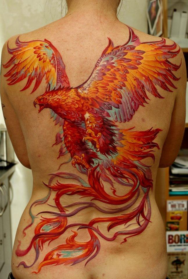 Phoenix rising full back by Dmitriy Samohin