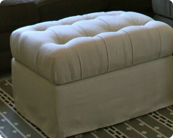 17 best images about drop cloth creations on pinterest chair slipcovers drop cloth curtains - Creative diy ottoman ideas ...