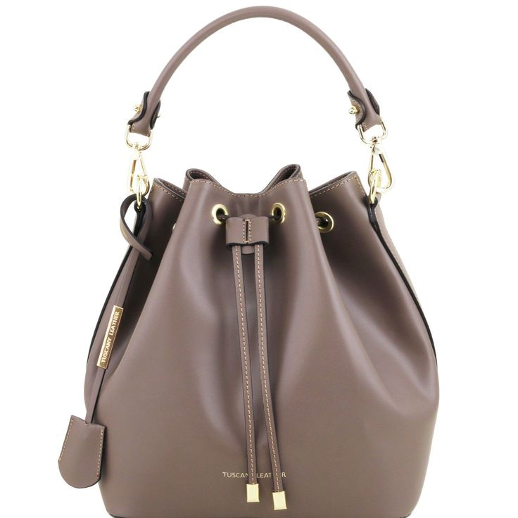 Tuscany Leather Ruga Leather Woman Handbag Secchiello Made In Italy