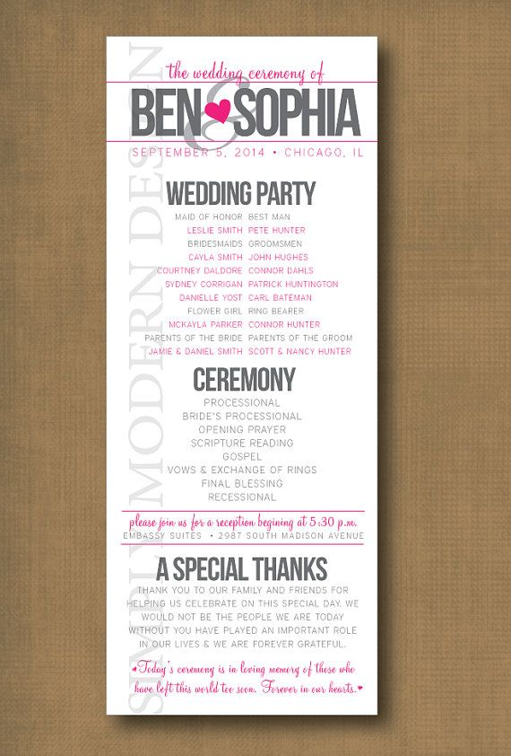 wedding program, PRINTABLE