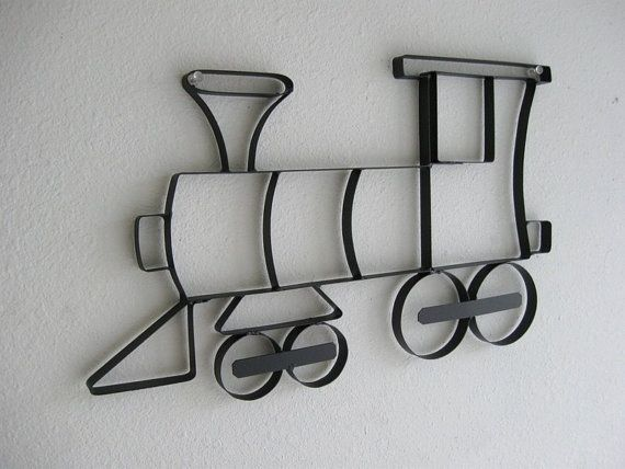 Train Engine Choo Choo Metal Wall Hanging - in Red for Easton's room