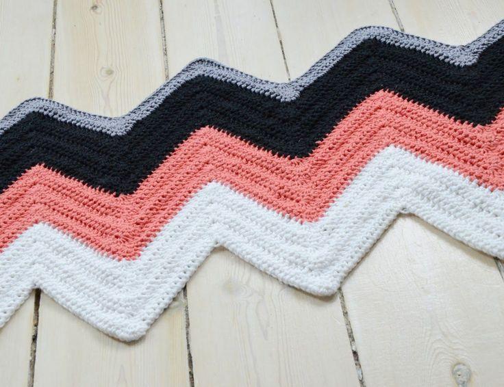 Hæklet zigzag tæppe