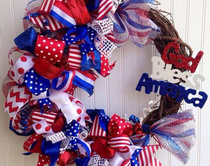 Patriotic wreath ,4th of july wreath,memorial day wreath ,labor day wreath ,veterans day wreath,grapevine wreath