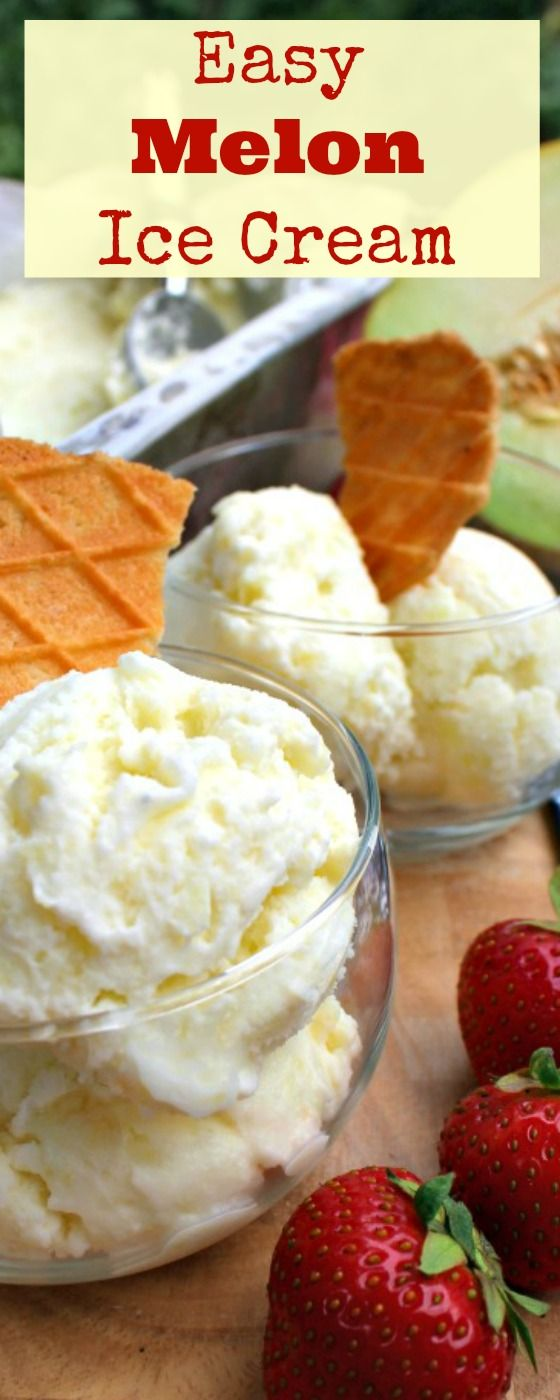 Easy Melon Ice Cream. This is a very easy recipe with just a few regular ingredients needed. A really refreshing flavor of delicious melon. Yummy! | Lovefoodies.com