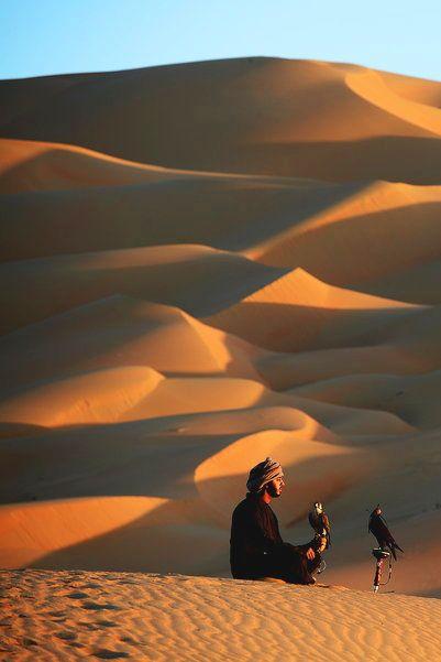bedouin falconry Oman//Les Bédouins désignent des nomades arabes vivant de l'élevage des caprins, des ovins et des camélidés, principalement dans les déserts d'Arabie, de Syrie, du Sinaï et du Sahara. Cette population arabe d'environ 4 millions de personnes est reconnaissable par ses dialectes, sa culture et sa structure sociale spécifiques.