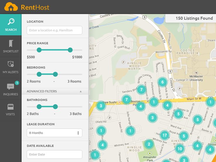 Map-view of RentHost Search UI with filters pane docked at the left and map showing clusters of available listings. Visit http://renthost.ca/ to check it out.