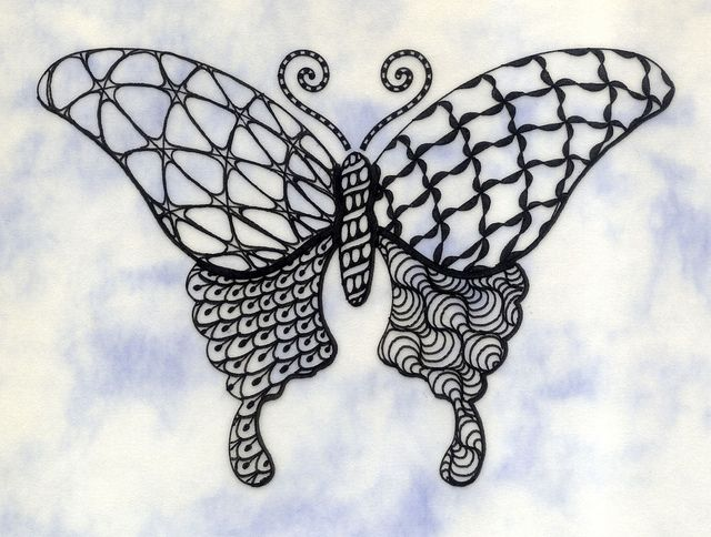 Group of Zentangle Butterfly Patterns