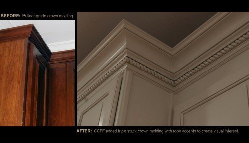 Before after kitchen cabinet crown molding ccff for Adding crown molding to kitchen cabinets before after