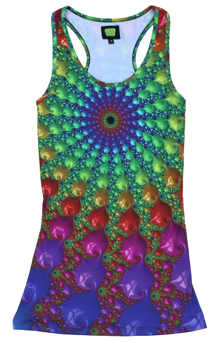 "Sublime Tank Girl : Spectral Fractal  The Space Tribe racerback mini-dress / long vest that will really grab people's attention.  Slinky stretch polyester lycra fabric (82% polyester, 18% spandex)  Printed using sublimation printing technology.   This allows for extremely vibrant colors that will never fade away no matter how many times it gets washed, & results in an extremely soft ""feel"" to the top for ultimate comfort.  Artwork by Space Tribe"