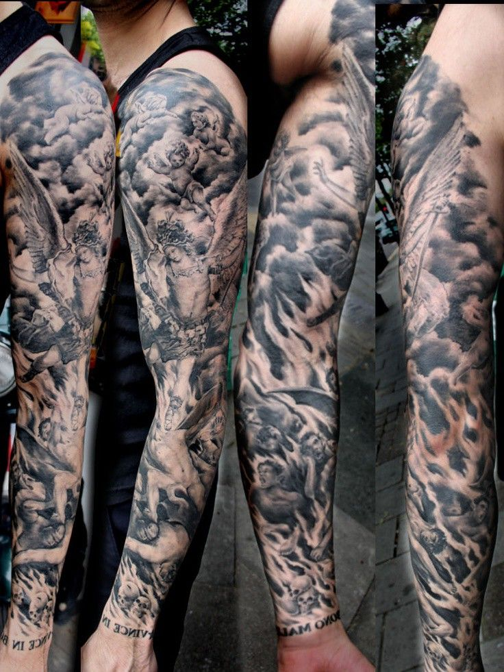51 best tattoo cinematic images on pinterest character for Battle between heaven and hell tattoo