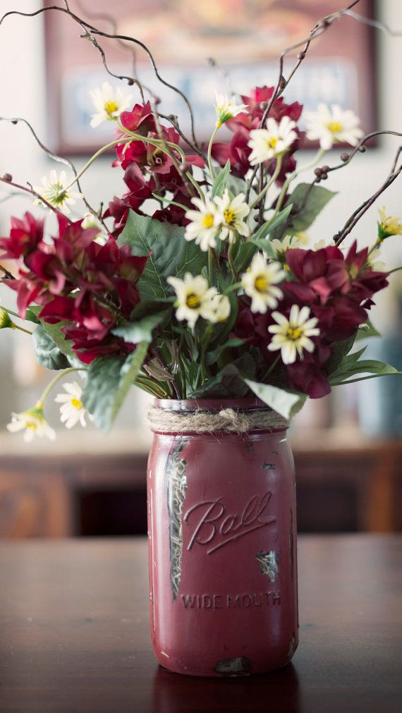 Mason jar painted vase with silk flowers pinterest for How to arrange flowers in mason jar