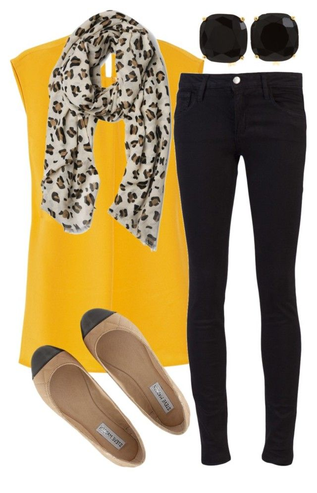Mustard Meow by qtpiekelso on Polyvore featuring 3.1 Phillip Lim, Joe's Jeans, Steve Madden and Kate Spade