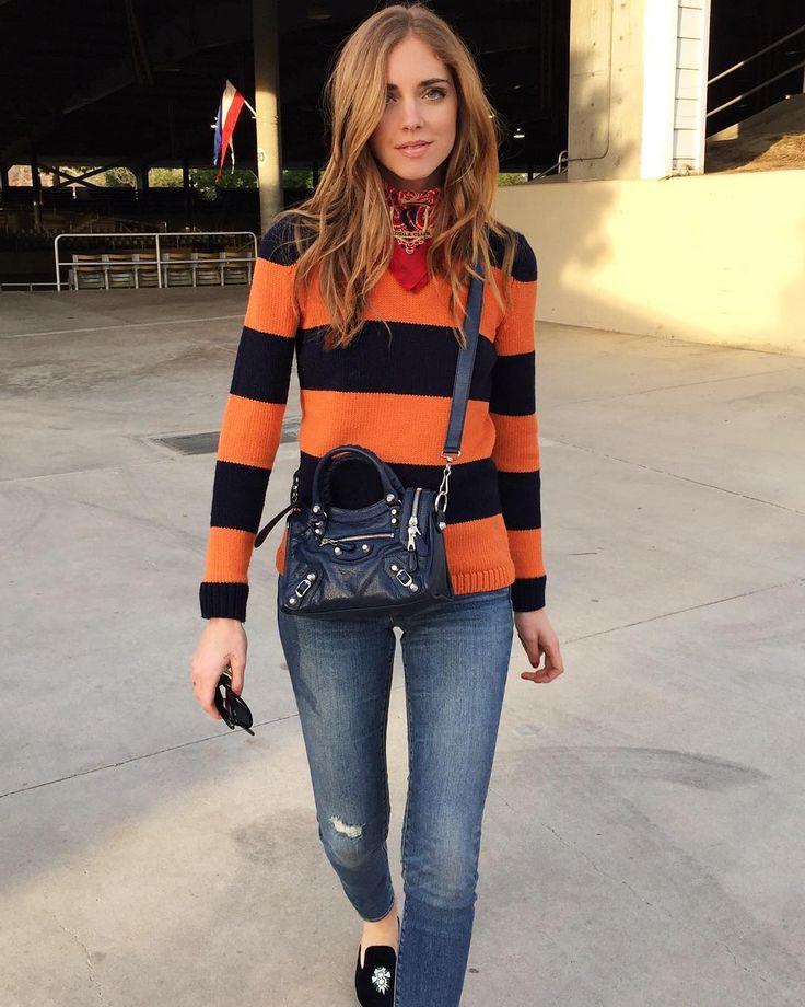 「After the horsebackride Stripes and new mini Balenciaga bag @fwrd #AmericanDays」Chiara Ferragni waysify