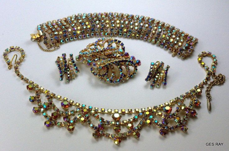 Juliana Aurora Borealis Rhinestone Demi-Parure Jewelry Set Vintage Prong Set #Juliana