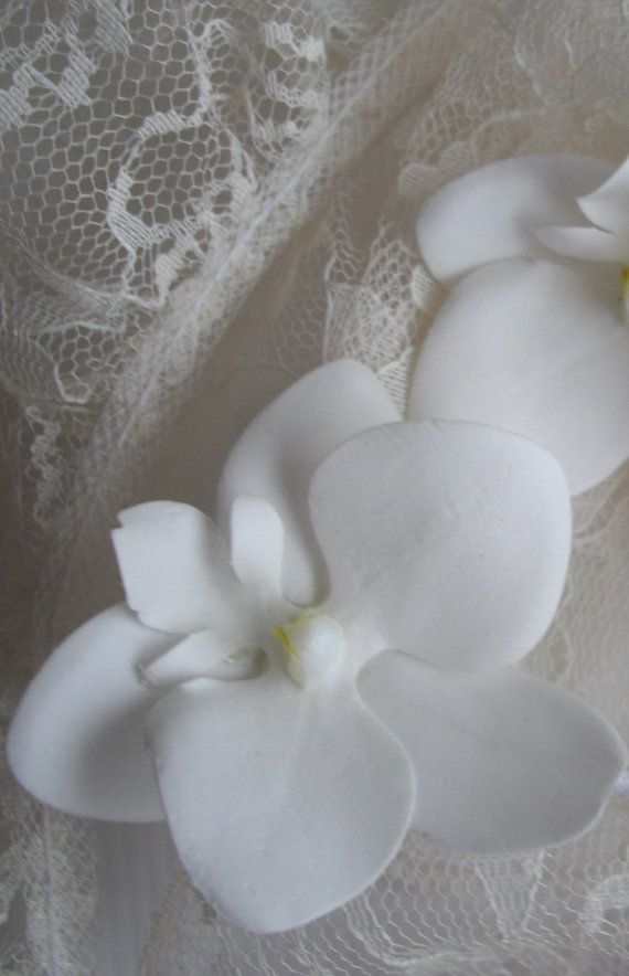 Large White Silk Orchid Hair Stick Handmade For by handcraftusa