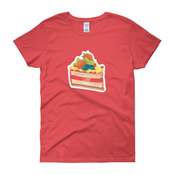 Berry Cheesecake Womens T-Shirt – Sweet Desserts Collection – Gildan 5000L  Product: Gildan 5000L Ladies Heavy Cotton Short Sleeve T-Shirt  A heavy cotton, classic fit ladies scoop neck t-shirt. • 100% cotton jersey • Pre-shrunk • Near-capped sleeves • Mid-scoop neck • ½ rib double needle collar • Missy contoured silhouette with side seam