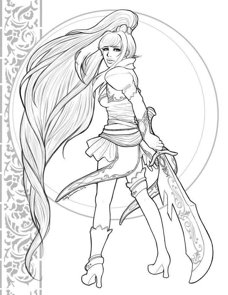 Pingl par sonia hector sur coloriages femmes sexy coloriage dessin et guerri re - Manga coloriage elfe ...