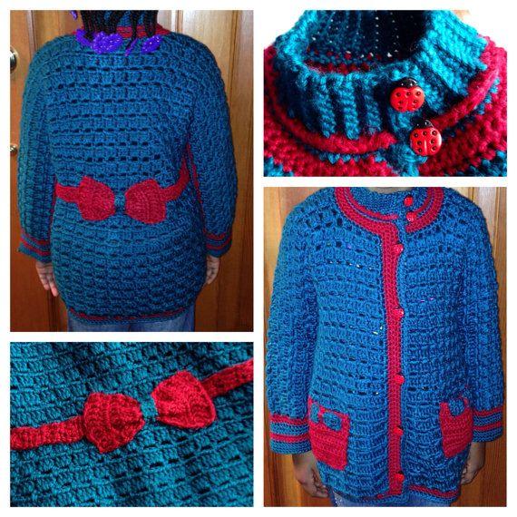 Girls' Crochet Sweater Jacket (Ladybugs and Bows) on Etsy, $150.00