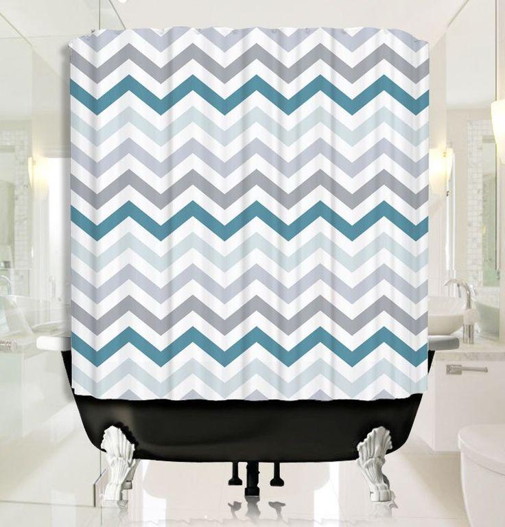 Aqua Chevron Pattern Shower Curtain