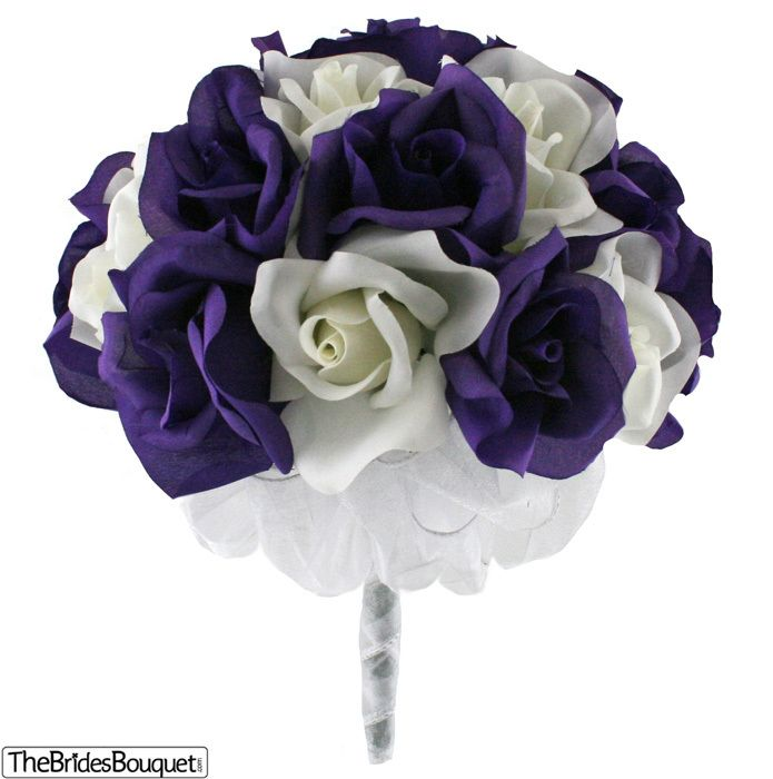 Purple and Ivory Silk Rose Hand Tied Bridal Bouquet | 2 Dozen Roses